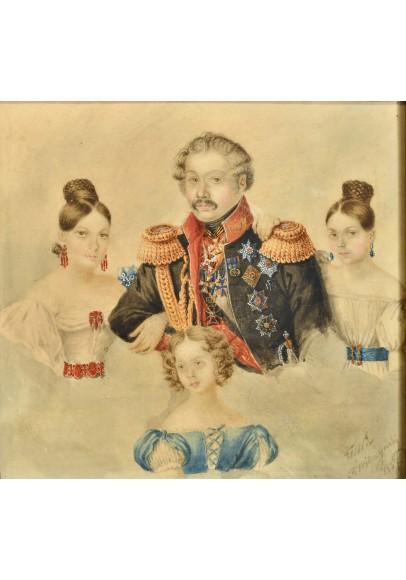 Вильчинский Роман (1807-1846).  «Барон Розен Григорий Владимирович (1782-1841) с дочерями».