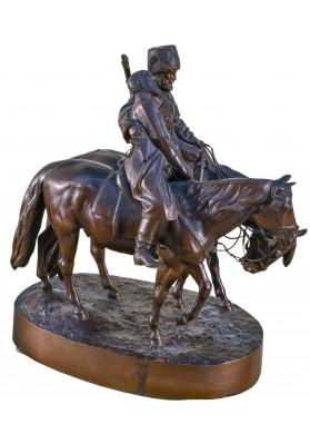 Вольф Альберт Мориц (1854-1923). Скульптурная композиция «Казак и раненый офицер на конях».