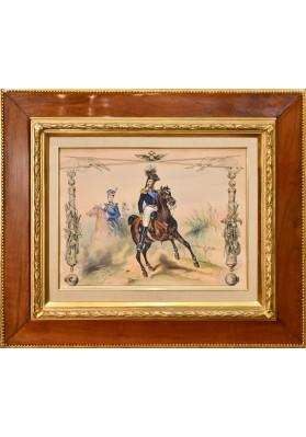Жан Виктор Адам (1801-1867). «Николай I на конной прогулке с цесаревичем Александром Николаевичем».