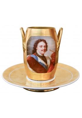 Адам Анри – Альбер (1766-1820/41). Чашка с портретом Петра I и блюдце.