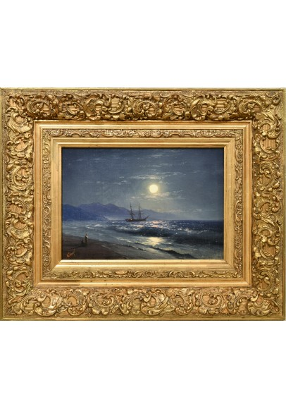 Айвазовский Иван Константинович (1817-1900) «Лунный морской пейзаж с фигурами».