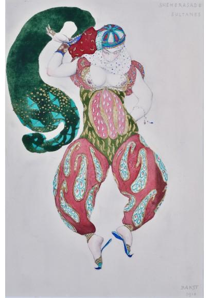 Бакст (Розенберг) Лев Самойлович (1866-1824). «Эскиз театрального костюма к балету Шахерезада».