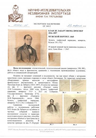 Блан де Лабарт Нюма Проспер (1816-1897) «Мужской портрет».
