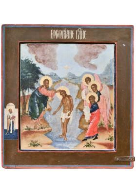 Двусторонняя икона «Крещение Христово» и «Сошествие во ад»