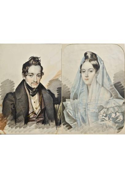 """Гампельн Карл Карлович (1794-1880-е) """"Парные портреты""""."""