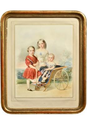 Гау Владимир Иванович (1816—1895). «Групповой портрет детей Петра Георгиевича Ольденбургского (1812-1881)».
