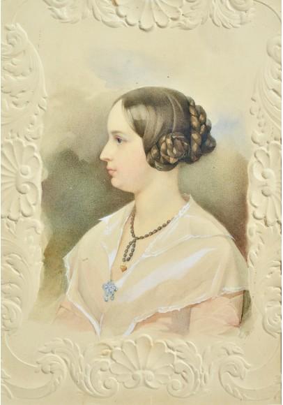 Гау Владимир Иванович (1816-1895). «Портрет Луизы-Матильды-Теодоры Гау, урожденной Зенфтлебен» супруги художника.