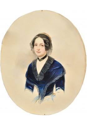 Гау Владимир Иванович (1816—1895).  «Портрет дама в синем платье».