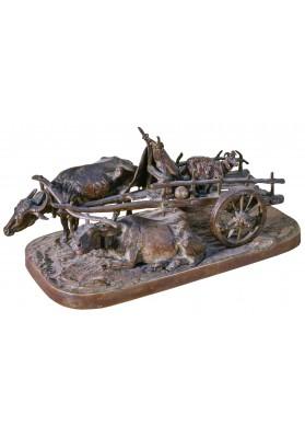 Лансере Евгений Александрович (1848-1886).Скульптурная композиция «Грузинская арба с козою, запряженная парой буйволов».