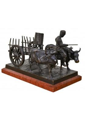"""Ходорович Феликс Игнатьевич (1840-е – после 1912). Скульптурная композиция """"Телега с двумя волами и погонщиком""""."""