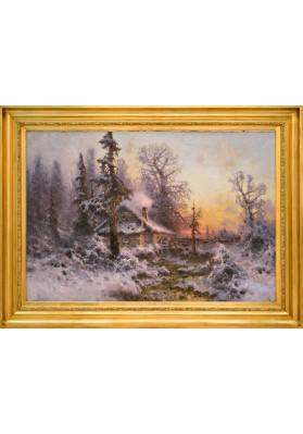 """Клевер Юлий Юльевич (1850-1924). """"Зима. Розовый закат""""."""
