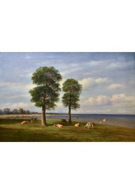 Клодт Михаил Константинович (1832-1902). «Летний день. Стадо у реки».
