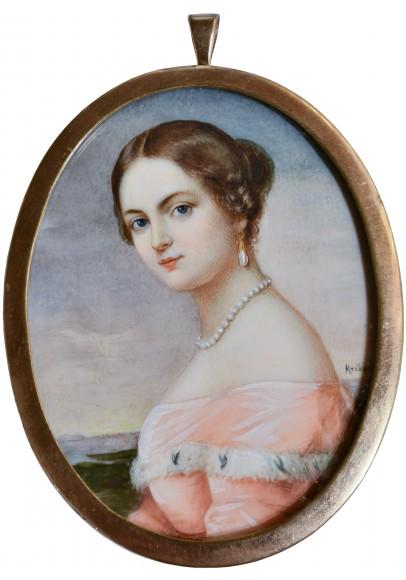 Франц Крюгер (1797-1857). Миниатюра «Портрет девушки в розовом».