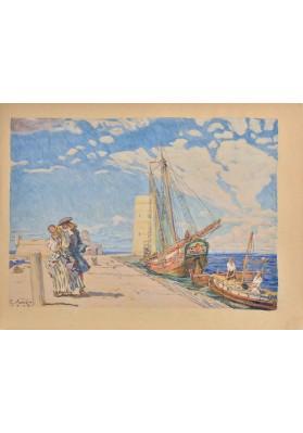 """Лансере Евгений Евгеньевич (1875-1946). """"Прогулка на молу""""."""