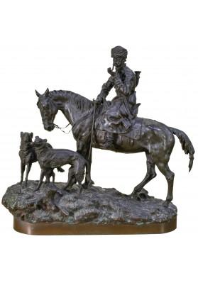 Грачев Василий Яковлевич (1831-1905). Скульптурная композиция «Охотник с борзыми».