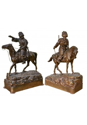 Грачев Василий Яковлевич (1831-1905). Парные статуэтки «Горцы».
