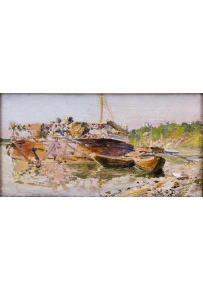 Поленов Василий Дмитриевич (1844-1927)  «Баржи на Оке».
