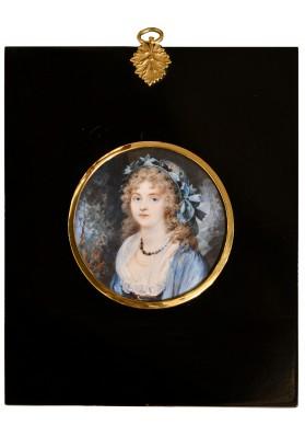 """Ритт (Ritt) Августин Христиан (1765-1799). """"Миниатюрный портрет дамы в соломенной шляпе на фоне пейзажа""""."""