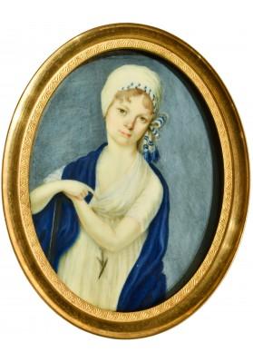 Строли (Стролей, Стролинг) Петер Эдуард (1768- после 1826).  Миниатюра «Портрет девушки в чепце».