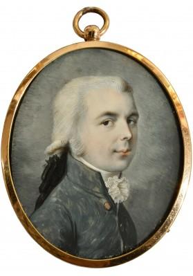 Строли (Стролей, Стролинг) Петер Эдуард (1768- после 1826). Миниатюра «Портрет мужчины в сером камзоле».