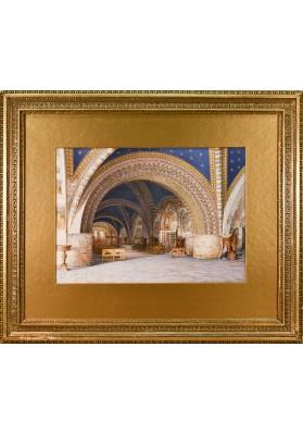 "Ухтомский Константин Андреевич (1818-1881).  ""Интерьер базилики Святого Франциска в Ассизи""."