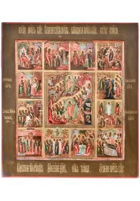 Икона «Воскресение Христово с праздниками» (12 клейм)