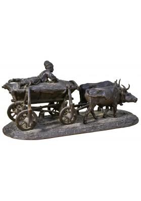 Лансере Евгений Александрович (1848-1886). Скульптурная композиция «Чумак на возу, запряженной парой волов».
