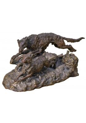 Евгений Напс (конец XIX). Мастер-модель чернильница «Собака, нагоняющая зайца».