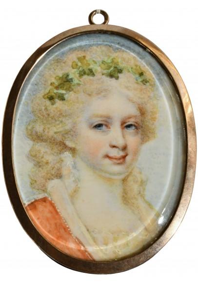 """Эдуард Майлз (Edward Miles) (1752 – 1828).  """"Миниатюрный портрет великой княжны Александры Павловны(1783-1801)""""."""