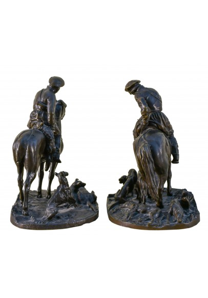 Лансере Евгений Александрович (1848-1886). Парные скульптурные композиции «Отправление на охоту» и «Возвращение с охоты».