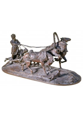 Лансере Евгений Александрович (1848-1886).  Скульптурная композиция «Санная тройка с нападающими волками».